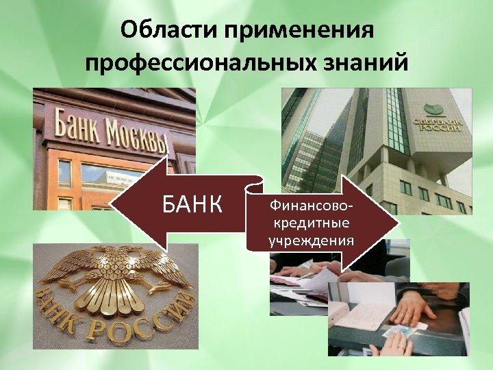 Области применения профессиональных знаний БАНК Финансовокредитные учреждения