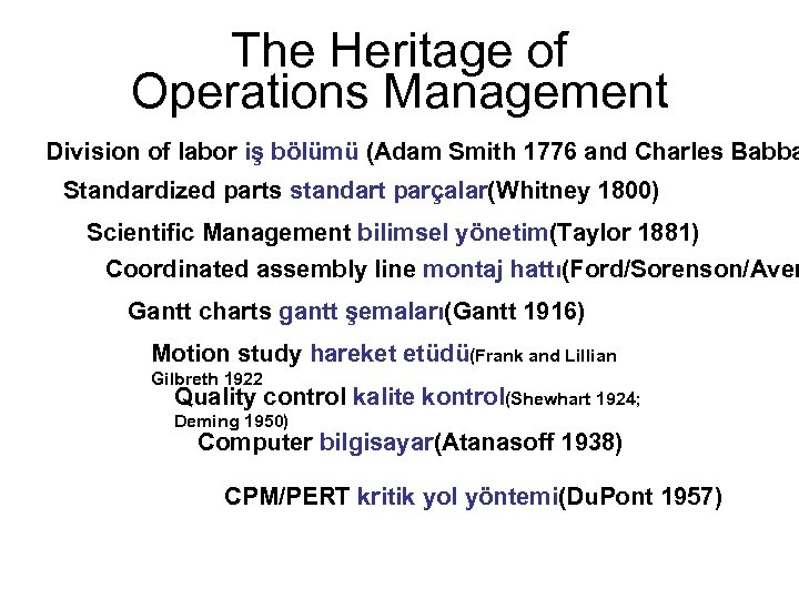 The Heritage of Operations Management Division of labor iş bölümü (Adam Smith 1776 and