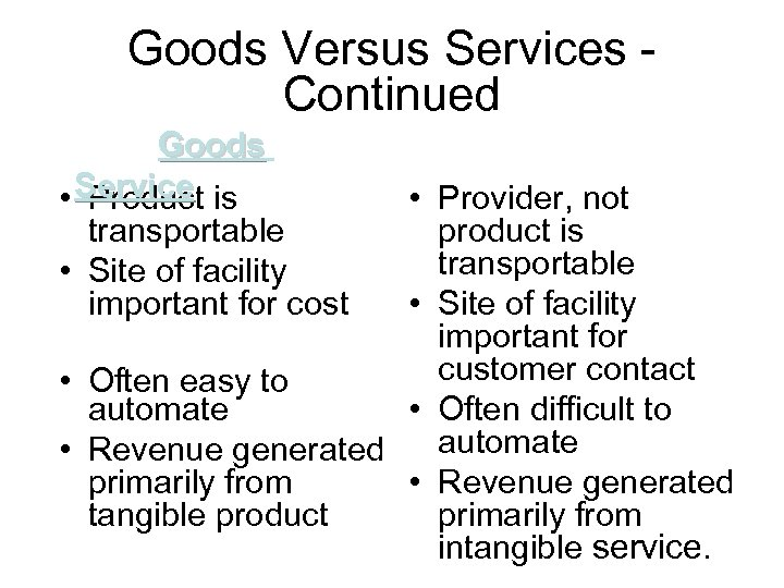 Goods Versus Services Continued Goods • Service is Product transportable • Site of facility