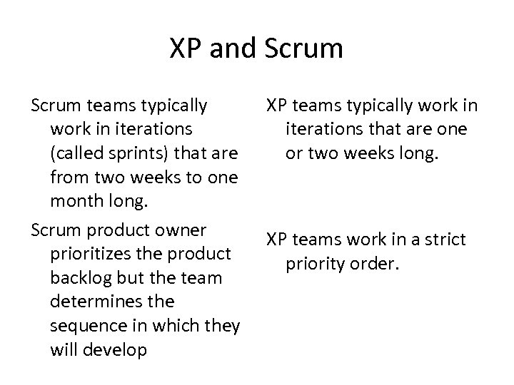 XP and Scrum teams typically work in iterations (called sprints) that are from two