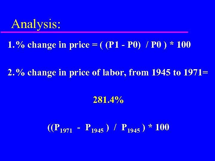 Analysis: 1. % change in price = ( (P 1 - P 0) /