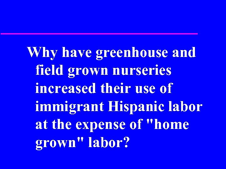 Why have greenhouse and field grown nurseries increased their use of immigrant Hispanic labor