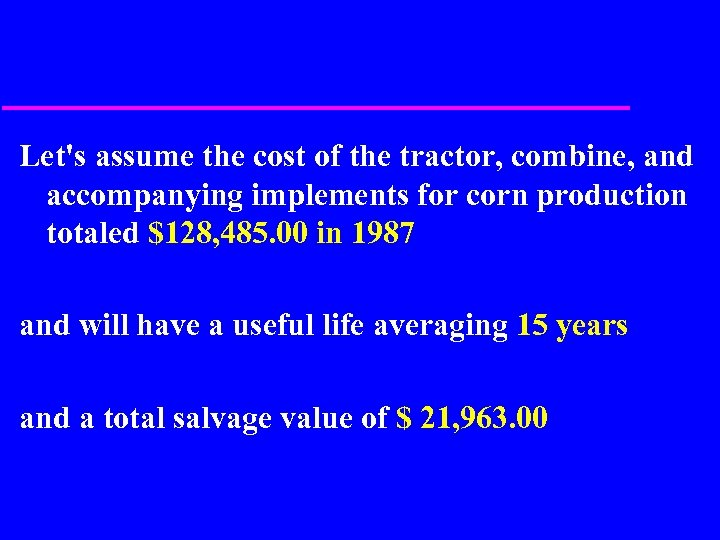 Let's assume the cost of the tractor, combine, and accompanying implements for corn production