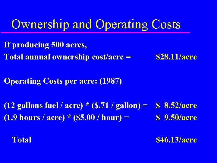 Ownership and Operating Costs If producing 500 acres, Total annual ownership cost/acre = $28.