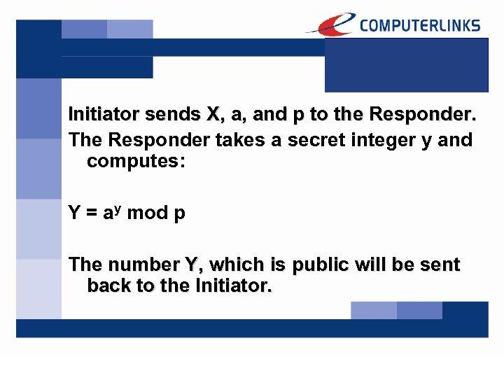 Initiator sends X, a, and p to the Responder. The Responder takes a secret