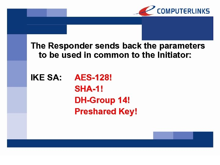 The Responder sends back the parameters to be used in common to the Initiator: