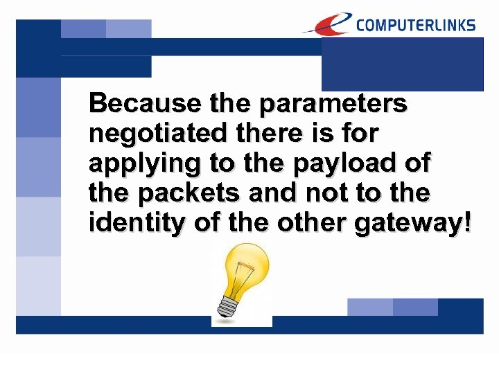 Because the parameters negotiated there is for applying to the payload of the packets