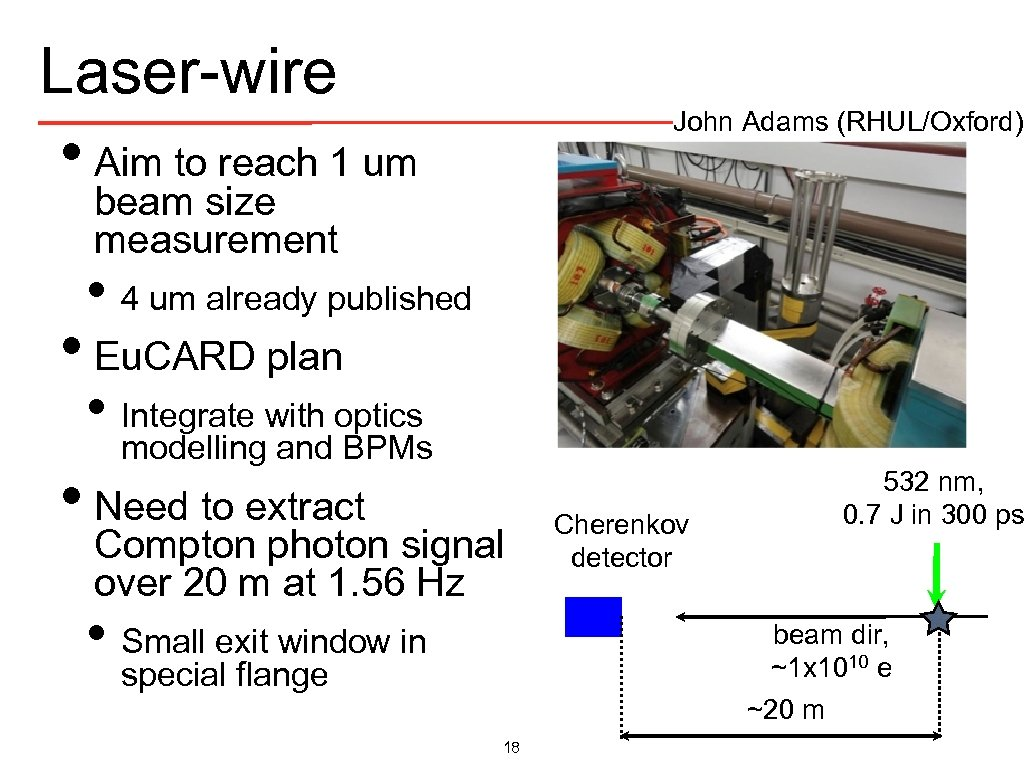 Laser-wire John Adams (RHUL/Oxford) • Aim to reach 1 um beam size measurement •