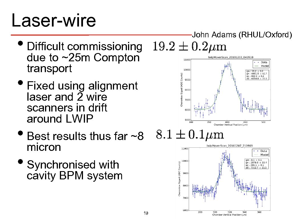 Laser-wire John Adams (RHUL/Oxford) • Difficult commissioning due to ~25 m Compton transport •