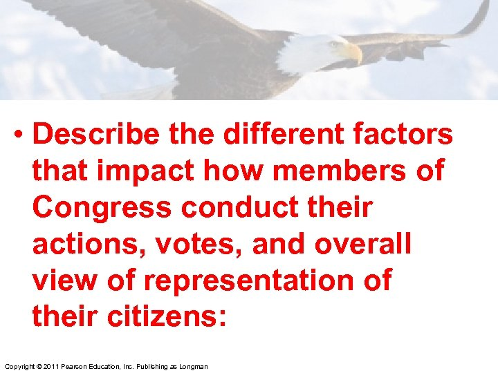 • Describe the different factors that impact how members of Congress conduct their