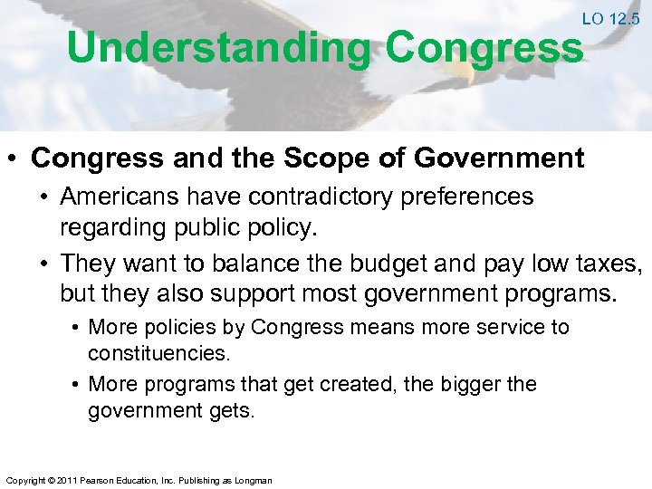 LO 12. 5 Understanding Congress • Congress and the Scope of Government • Americans