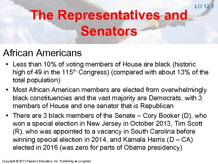 The Representatives and Senators LO 12. 1 African Americans • Less than 10% of