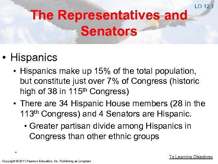The Representatives and Senators LO 12. 1 • Hispanics make up 15% of the