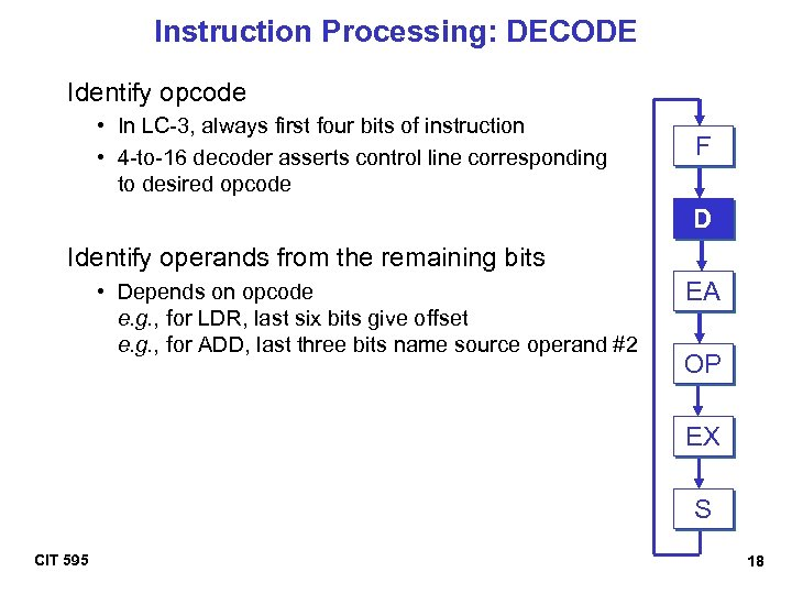 Instruction Processing: DECODE Identify opcode • In LC-3, always first four bits of instruction