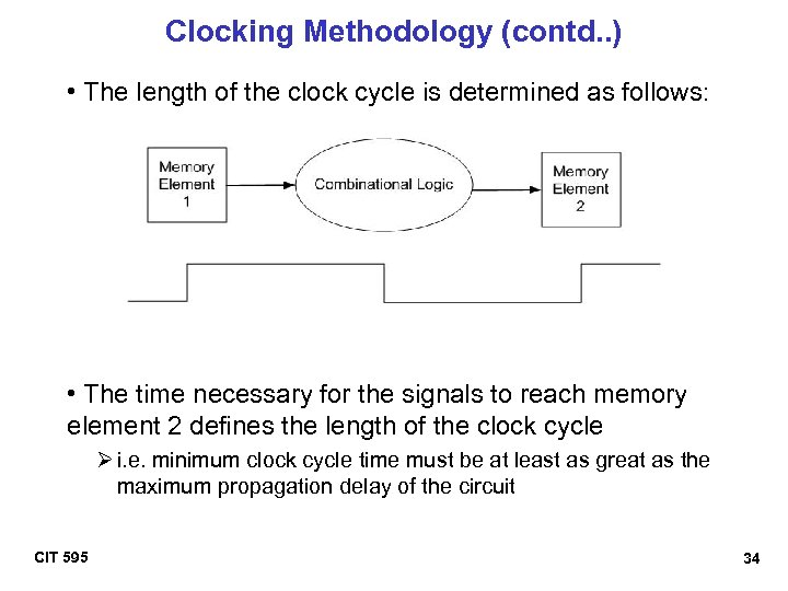 Clocking Methodology (contd. . ) • The length of the clock cycle is determined