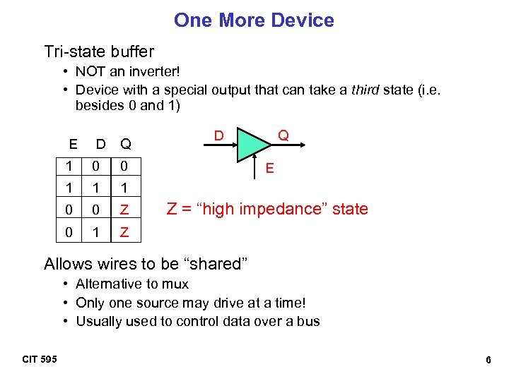 One More Device Tri-state buffer • NOT an inverter! • Device with a special