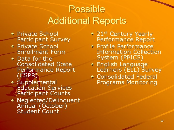 Possible Additional Reports Private School Participant Survey Private School Enrollment Form Data for the