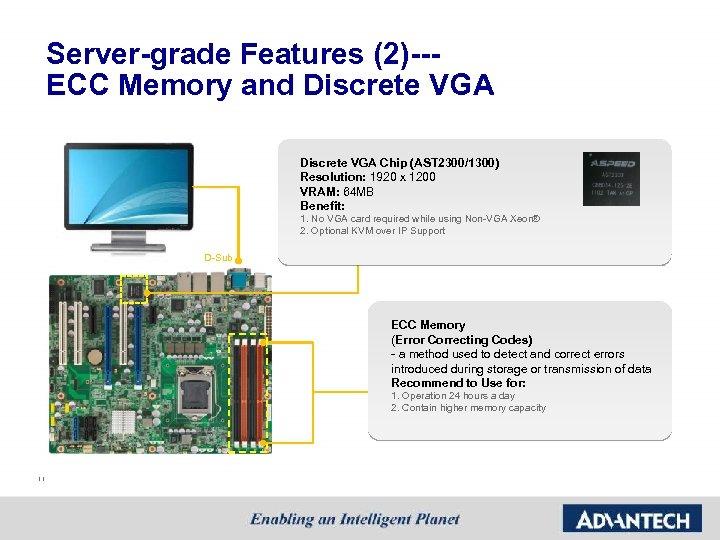 Server-grade Features (2)--- ECC Memory and Discrete VGA Chip (AST 2300/1300) Resolution: 1920 x