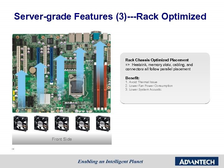 Server-grade Features (3)---Rack Optimized Rack Chassis Optimized Placement => Heatsink, memory slots, cabling, and