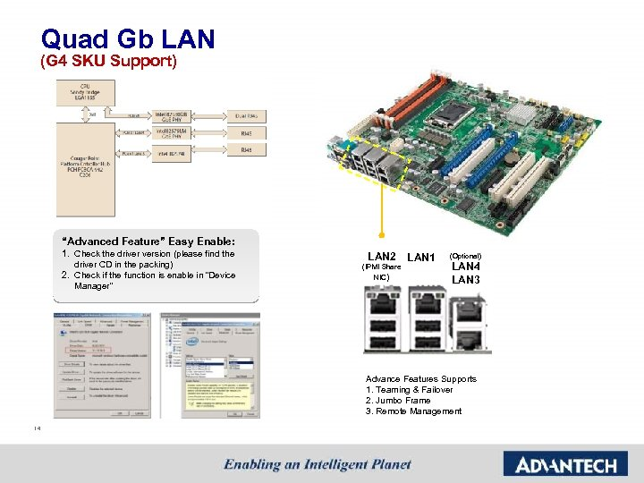 """Quad Gb LAN (G 4 SKU Support) """"Advanced Feature"""" Easy Enable: 1. Check the"""