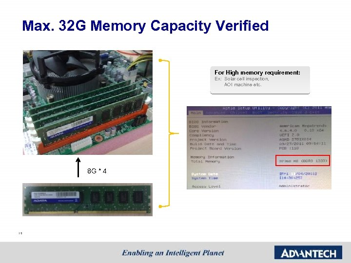 Max. 32 G Memory Capacity Verified For High memory requirement: Ex: Solar cell inspection,