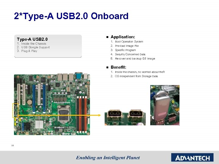 2*Type-A USB 2. 0 Onboard Type-A USB 2. 0 n Application: 1. 2. 3.