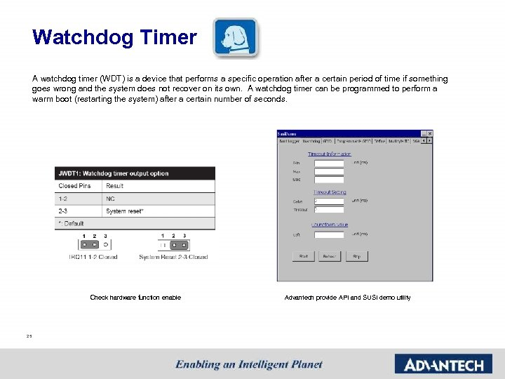Watchdog Timer A watchdog timer (WDT) is a device that performs a specific operation