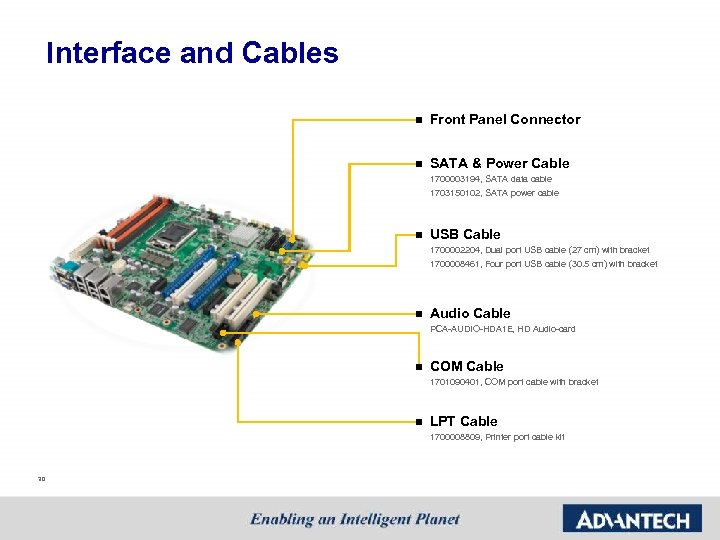 Interface and Cables n Front Panel Connector n SATA & Power Cable 1700003194, SATA