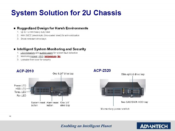 System Solution for 2 U Chassis n Ruggedized Design for Harsh Environments 1. Up