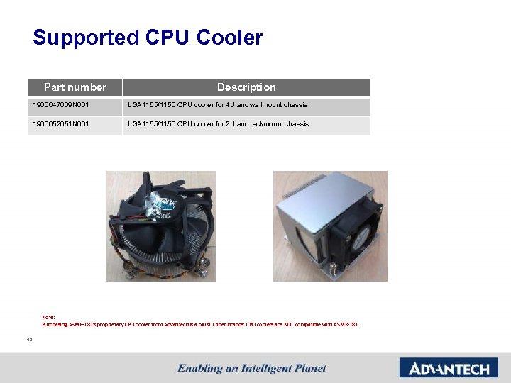 Supported CPU Cooler Part number Description 1960047669 N 001 LGA 1155/1156 CPU cooler for