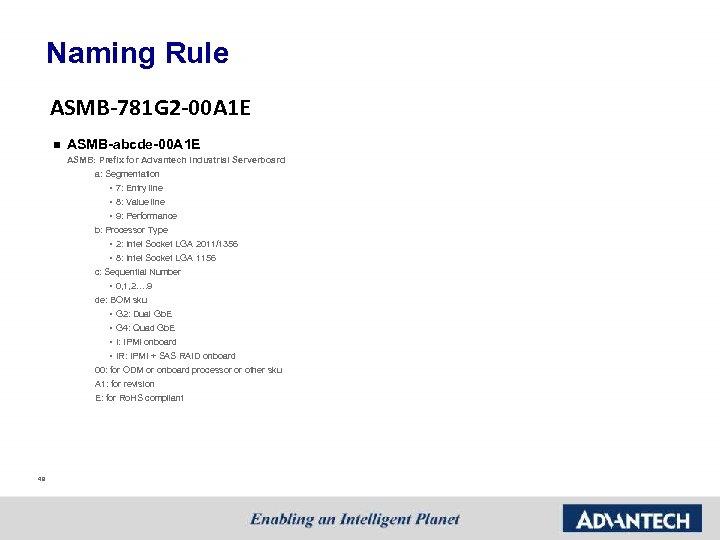 Naming Rule ASMB-781 G 2 -00 A 1 E n ASMB-abcde-00 A 1 E