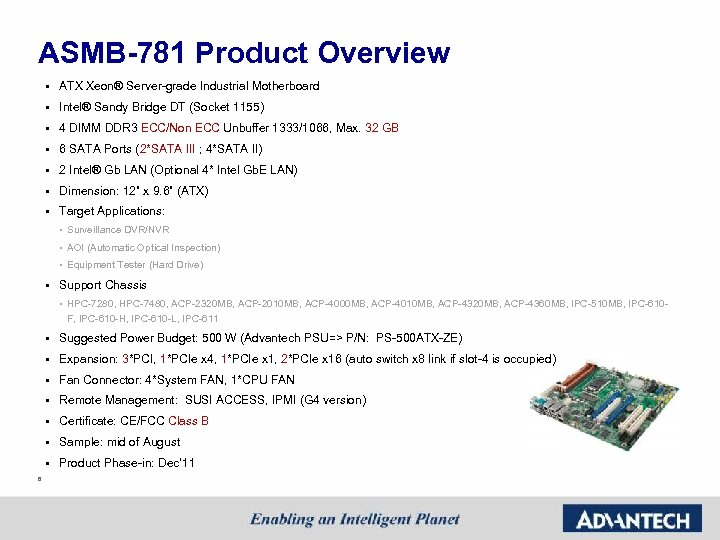 ASMB-781 Product Overview § ATX Xeon® Server-grade Industrial Motherboard § Intel® Sandy Bridge DT