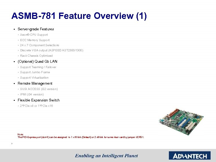 ASMB-781 Feature Overview (1) § Server-grade Features • Xeon® CPU Support • ECC Memory
