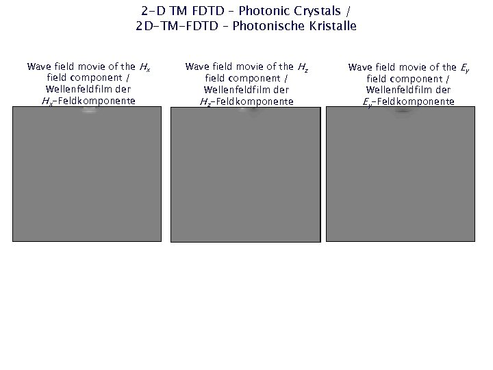 2 -D TM FDTD – Photonic Crystals / 2 D-TM-FDTD – Photonische Kristalle Wave