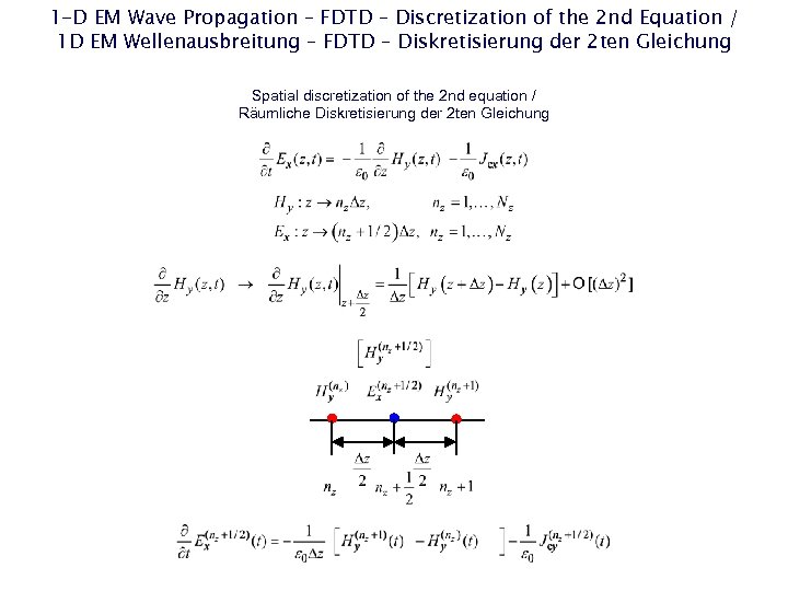 1 -D EM Wave Propagation – FDTD – Discretization of the 2 nd Equation