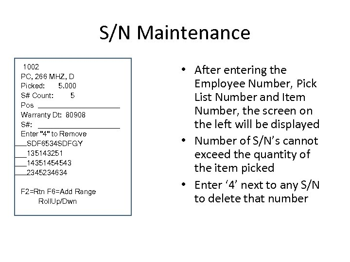 S/N Maintenance 1002 PC, 266 MHZ, D Picked: 5. 000 S# Count: 5 Pos