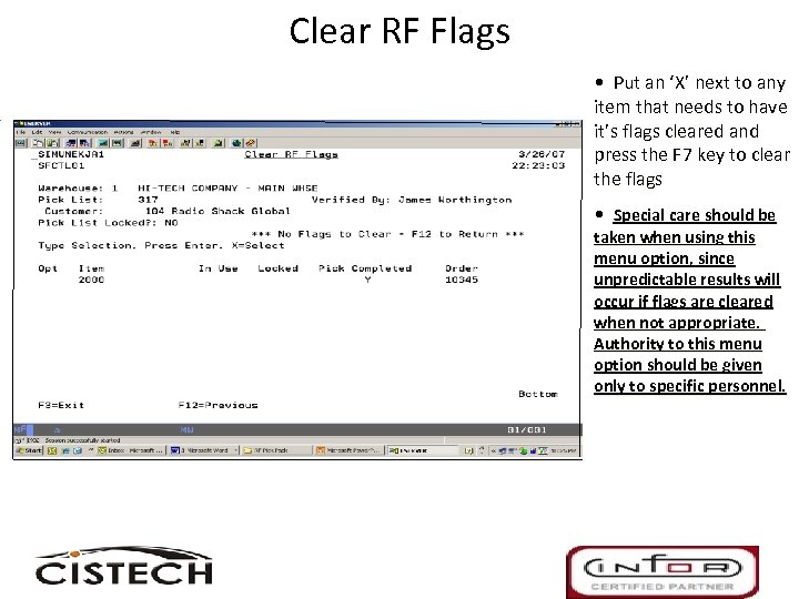 Clear RF Flags • Put an 'X' next to any item that needs to