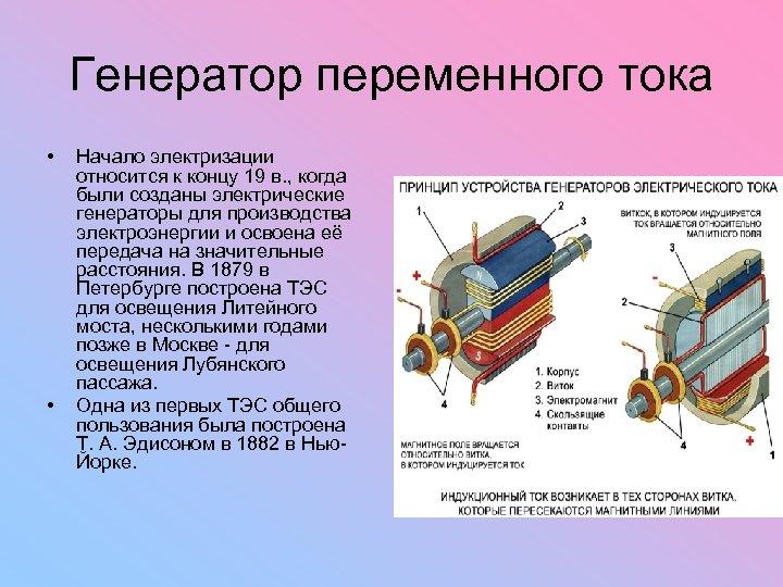 Генератор переменного тока • • Начало электризации относится к концу 19 в. , когда