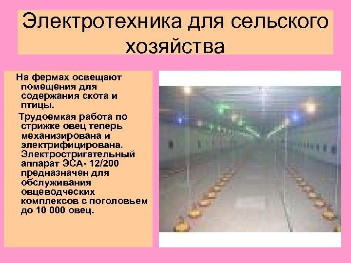 Электротехника для сельского хозяйства На фермах освещают помещения для содержания скота и птицы. Трудоемкая