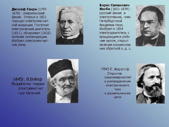 Джосеф Генри (17971878) - американский физик. Открыл в 1831 принцип электромагнитной индукции. Построил электрический