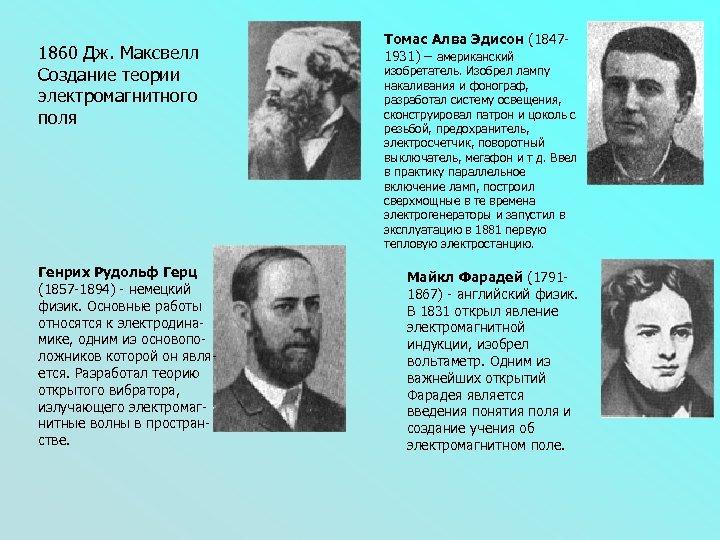 1860 Дж. Максвелл Создание теории электромагнитного поля Генрих Рудольф Герц (1857 -1894) - немецкий