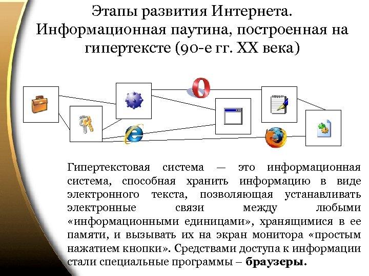 Этапы развития Интернета. Информационная паутина, построенная на гипертексте (90 -е гг. ХХ века) Гипертекстовая
