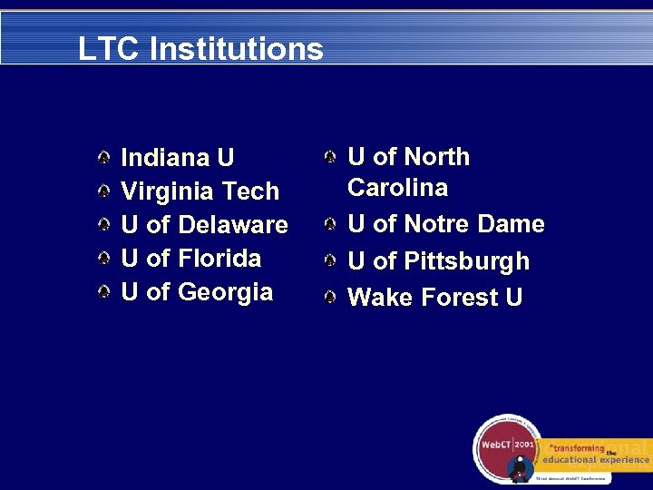 LTC Institutions Indiana U Virginia Tech U of Delaware U of Florida U of