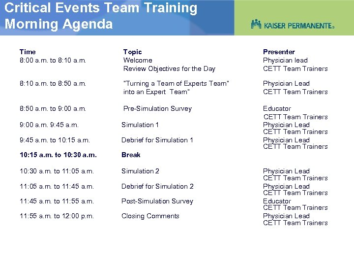 Critical Events Team Training Morning Agenda Time 8: 00 a. m. to 8: 10