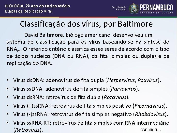 BIOLOGIA, 2º Ano do Ensino Médio Etapas da Replicação Viral Classificação dos vírus, por