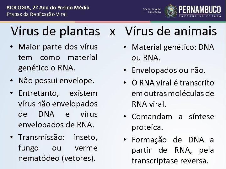BIOLOGIA, 2º Ano do Ensino Médio Etapas da Replicação Viral Vírus de plantas x