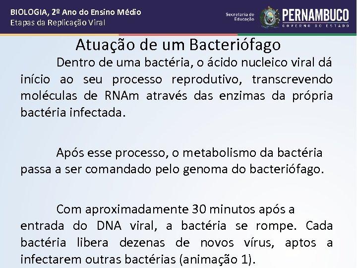 BIOLOGIA, 2º Ano do Ensino Médio Etapas da Replicação Viral Atuação de um Bacteriófago