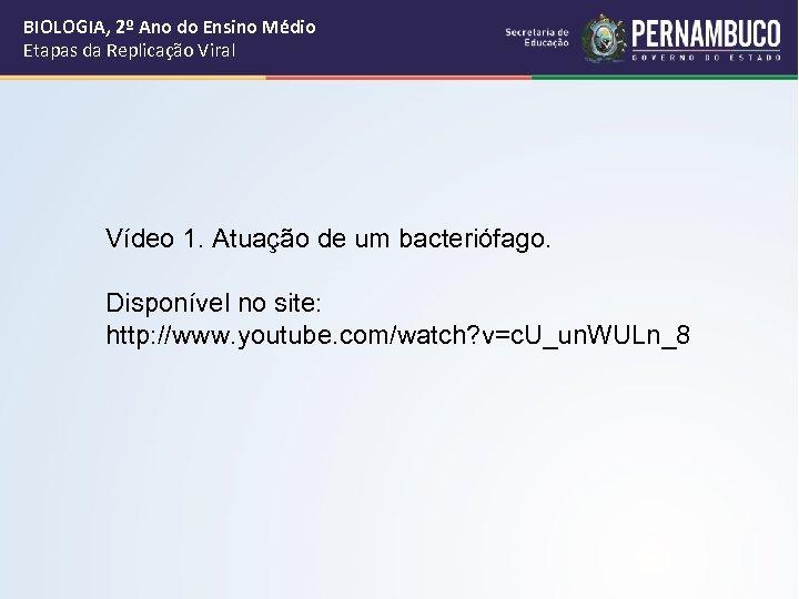 BIOLOGIA, 2º Ano do Ensino Médio Etapas da Replicação Viral Vídeo 1. Atuação de