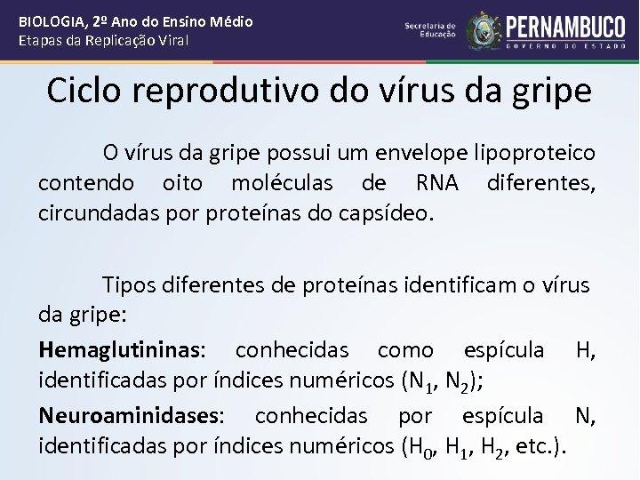 BIOLOGIA, 2º Ano do Ensino Médio Etapas da Replicação Viral Ciclo reprodutivo do vírus