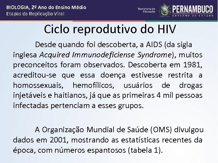 BIOLOGIA, 2º Ano do Ensino Médio Etapas da Replicação Viral Ciclo reprodutivo do HIV